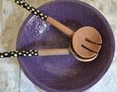 Purple Bowl - large handmade bowl - Wobbly Plates Series