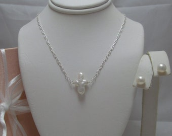 Pearl Cross Necklace and Earrings Set