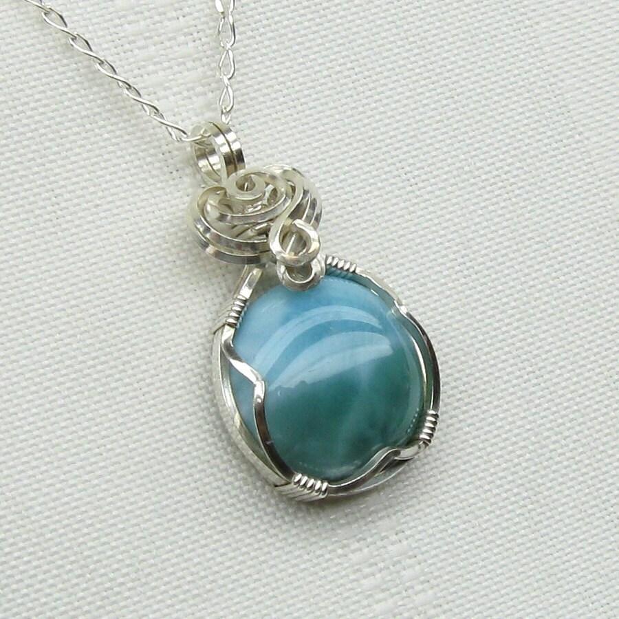 larimar necklace larimar genuine blue larimar pendant
