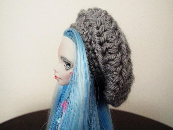 Monster High - Lati Yellow - Pukifee - 5/6 BJD Doll Crochet Slouchy Hat - Grey Gray