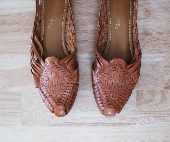 vintage WOVEN huaraches leather flats 9