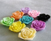 Drilled Acrylic Lucite Large Rose Flower Beads With Holes 36mm Choose Your Colors 907