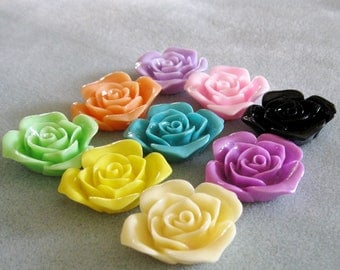 Drilled Large Rose Flower Beads Lucite Acrylic Resin With Hole 36mm Choose Your Colors 907