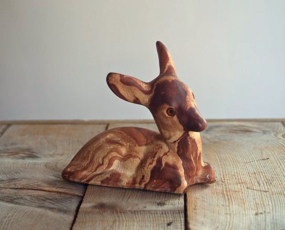 1950s Pine Scented Pottery Ceramic Fawn, Rocky Mountain Pottery, Woodland Fawn, Faux Bois Ceramic Fawn