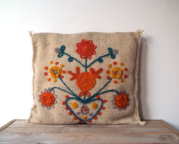 Vintage Folk Art Embroidered Crewel Work Pillow