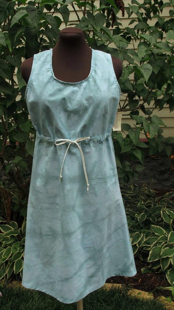 SALE Sleeveless Dress - Gathered Empire Waist - Upcycled Tie Die Cotton - Size Medium