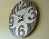 16in Round Roland Mono Butcher Block - Modern Wall Clock