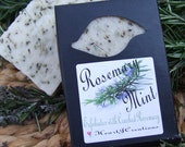 ROSEMARY MINT All Natural ESSENTIAL Oils Handmade Soap Bar with Ground Rosemary