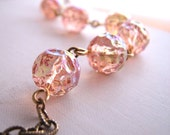 Blush  peach pink beaded necklace with vintage German glass