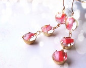 Pink and Tangerine earrings with vintage givre rhinestones