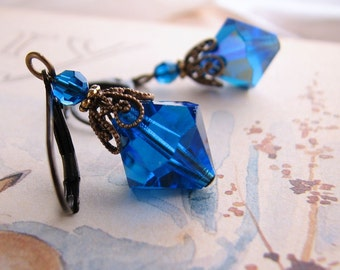 Sapphire Blue Filigree Shabby earrings