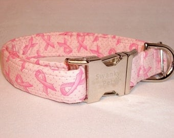 Pink Ribbon Dog Collar by Swanky Pet