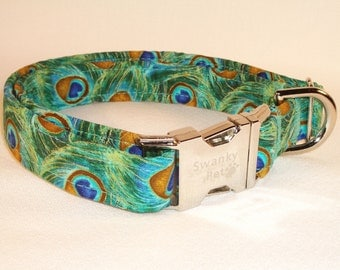 Beautiful Peacock Feathers Dog Collar by Swanky Pet