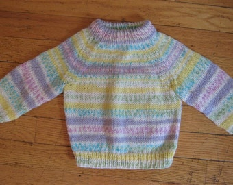 hand knit baby sweater size 0 -  6 months