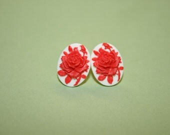 Tiny Red Rose Cameo Earrings