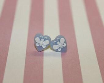 Tiny Blue Heart Butterfly Cameo Earrings