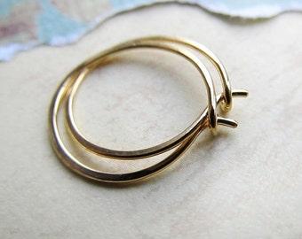 Gold Hoop Earrings, Mini Hammered Metalwork Hoops, Tiny, 14k Gold, Luxury Gift