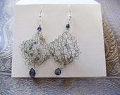 Lacy wire  knit silver earring with one iolite teardrop