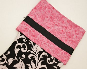 Glittery Pink Black and White Christmas Stocking Glittery Vampire Inspired Teen Tween Girls Gifs for Her Modern Ready to Ship Sale