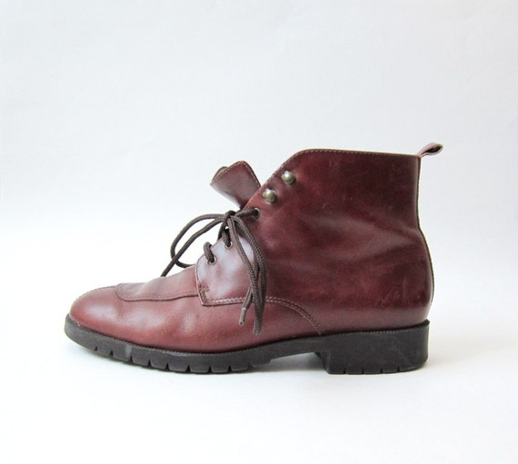 1990s Military Brown Ankle Boots Size 8M