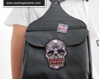 Sugar Skull Leather Backpack