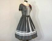 1950s dress / Picnic Time Jeanne Black & White Checked 50's Full Dress