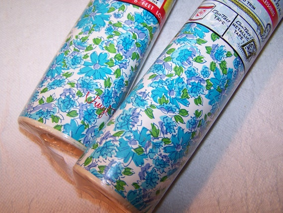 Vintage Con Tact Shelf Paper Scalloped Edges Blue Floral 2 Rolls 12 Feet Contact Paper