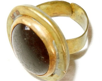 Vintage Rafael Canada brass ring with Murano Glass cabochon