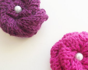 SALE - purple Knitted brooch, textile jewelry hand knit rose flower pin plum