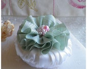 Satin Covered Powder Puff Embellished With Vintage Ribbon And Jewels