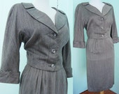 50s Hourglass Sihlouette Summer Suit - I Magnin - jacket pencil skirt set -