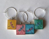 Fun Dragonfly Scrabble Tile Wine Charms Set of 4