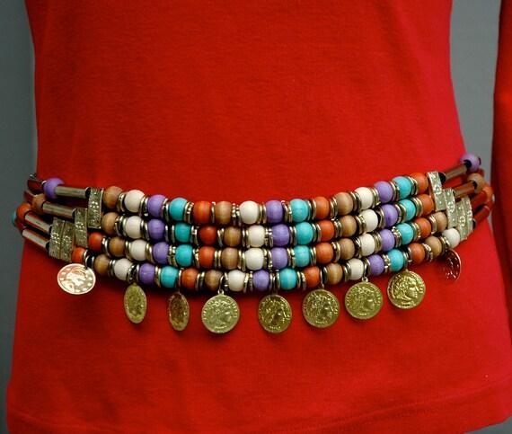 Vintage Boho Belt with Wooden Beads
