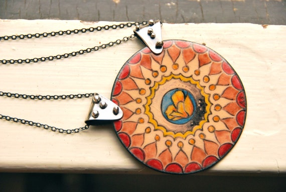 California Poppy and Stars Mandala Necklace. Sterling silver. Enamel graphite and watercolor on copper. An ode.