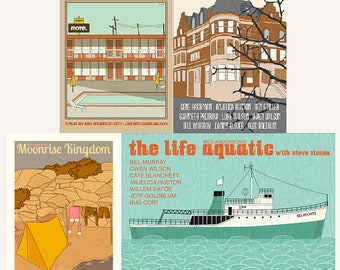 Movie posters Wes Anderson Collection set of ANY four prints: save 10%