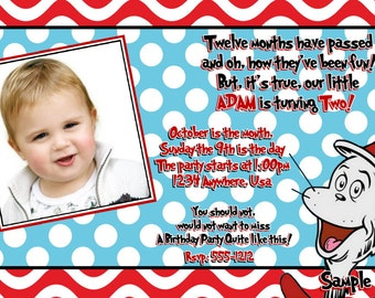 Dr Seuss 2nd Birthday Invitation - Dr. Seuss BIRTHDAY Printable Invitation, with Cat in the Hat