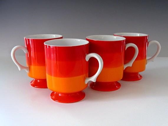 RESERVED FOR KELLY Vintage Pedestal Coffee Cups Signed Holt Howard Mug Set Retro Mid-Century Red Orange 1966 1960s