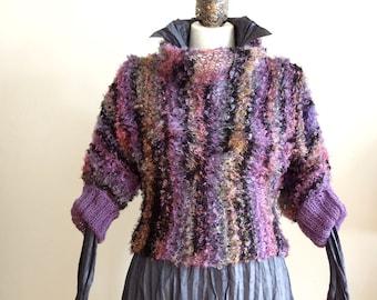 Braided shrug Shaded magic yarn in pink lilac yellow & black,  boho shrug, fall fashion cropped sweater, avant garde shrug, READY TO SHIP