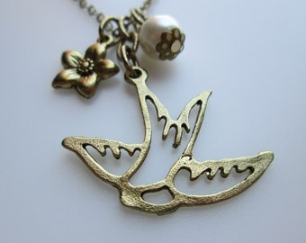 Bird Necklace, Swooping Swallow Bird, Bird Charm Necklace with Pearl and Flower