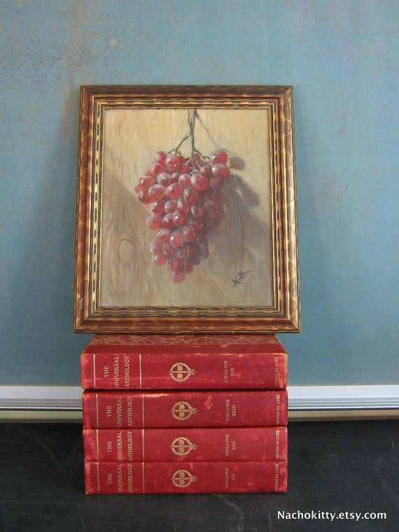 1900s Wine Grapes Oil Painting Signed, Realism Still Life
