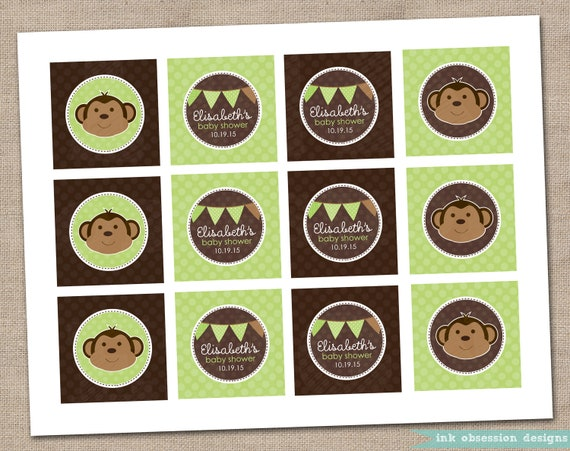 Printable Cupcake Toppers Green and Brown Monkey and Bunting