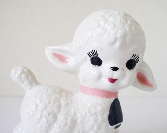 Kitschy lamb figurine