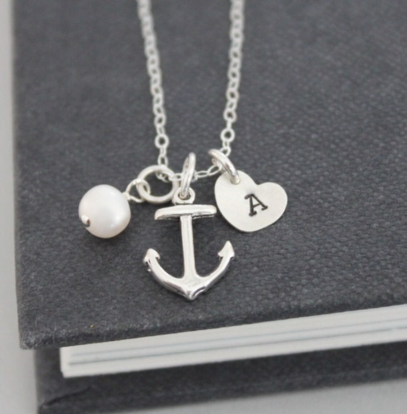 Anchor Necklace .. Initial Necklace ..Sterling Silver, Personalized Jewelry , Nautical  Hand Stamped Pendant Journey Necklace