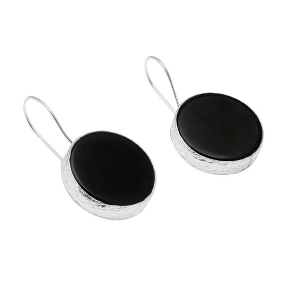 Black Onyx Dark Hole Sterlin Silver Earrings