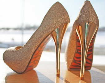 Gold Glitter Stilettos, Hand Painted Zebra Soles, Womens Size 7, One of a Kind