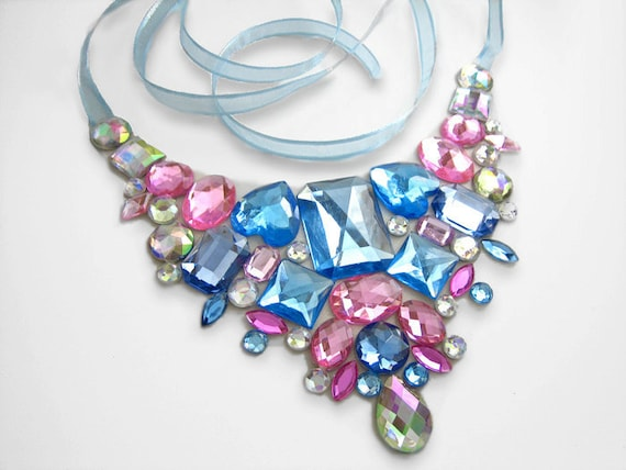 Sparkling Blue and Pink Cotton Candy Floating Rhinestone Statement Necklace