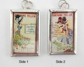 One Rectangular Framed Two-sided Fortune Teller Pendant