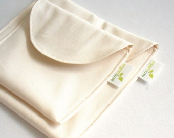 Natural Sandwich and Snack Bag Set of 2 - Organic Cotton, Eco Friendly, Reusable -- Back to School