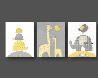 Nursery Decor baby Boy nursery decor yellow gray nursery wall art elephant nursery giraffe nursery bird turtle Set of 3 prints
