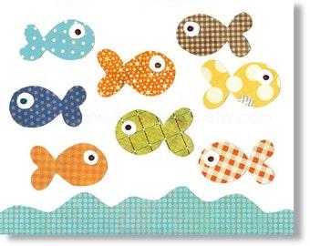 Baby boy nursery print - childrens art print - kids room decor - kids art - nursery wall art - nursery Fish - The Great Fish Race print